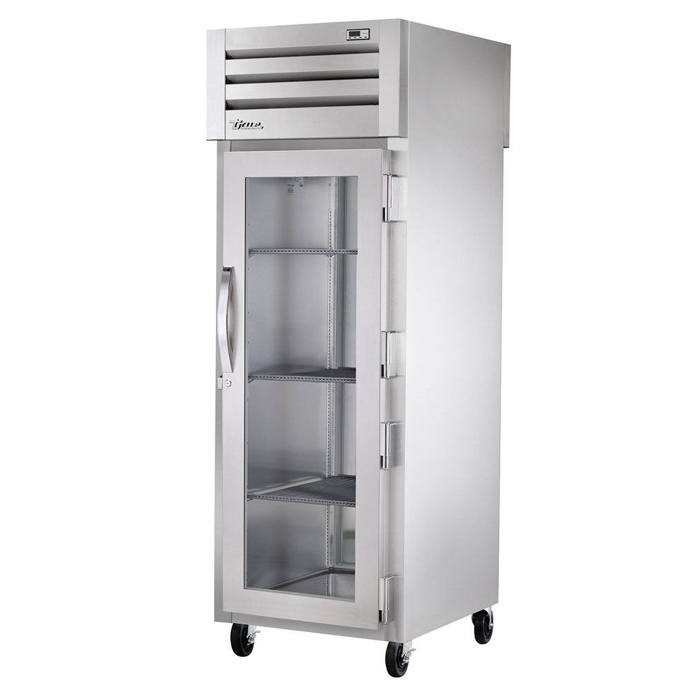 "True STR1RPT-1G-1S 27.5"" Single Section Pass-Thru Refrigerator, (1) Glass Door, 115v"