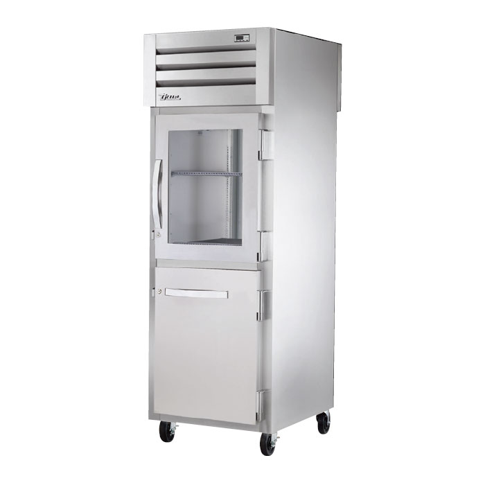"True STR1RPT-1HG1HS1G 27.5"" Single Section Pass-Thru Refrigerator, (1) Solid Door, (1) Glass Door, 115v"