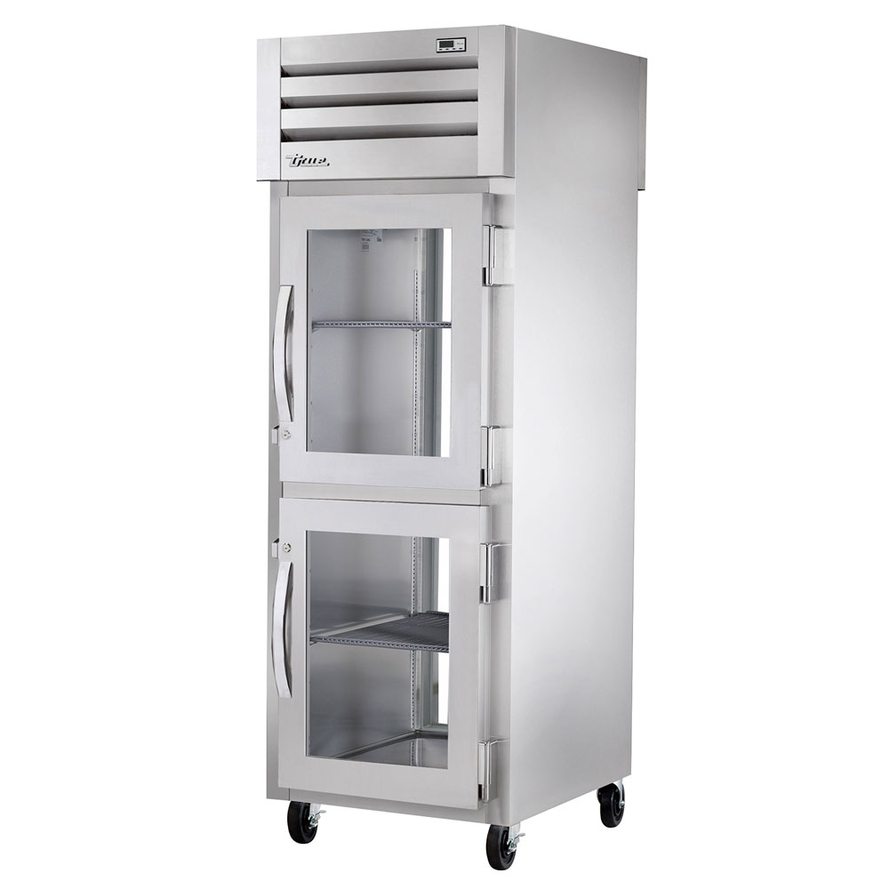 "True STR1RPT-2HG-1G-HC 27.5"" Single Section Pass-Thru Refrigerator, (2) Glass Door, 115v"