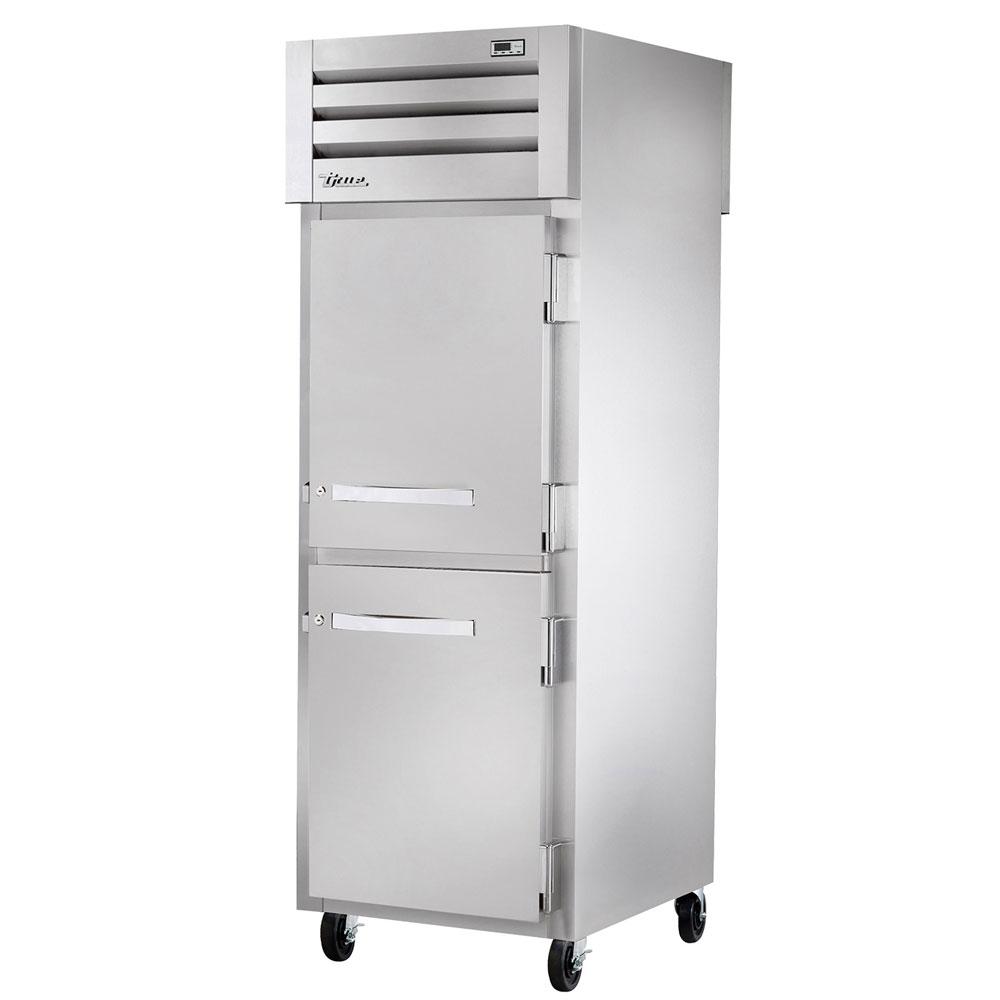 """True STR1RPT-2HS-2HG 27.5"""" Single Section Pass-Thru Refrigerator, (2) Solid Doors, 115v"""