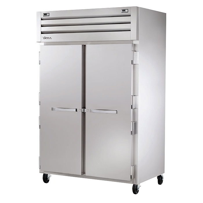 "True STR2DT-2S 53"" Two Section Commercial Refrigerator Freezer - Solid Doors, Top Compressor, 115v"