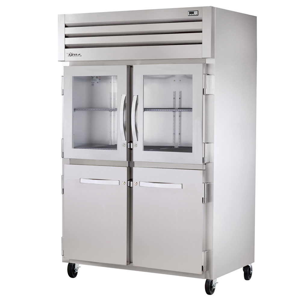 "True STR2R-2HG/2HS 52.63"" Two Section Reach-In Refrigerator, (2) Solid Door, (2) Glass Door, 115v"