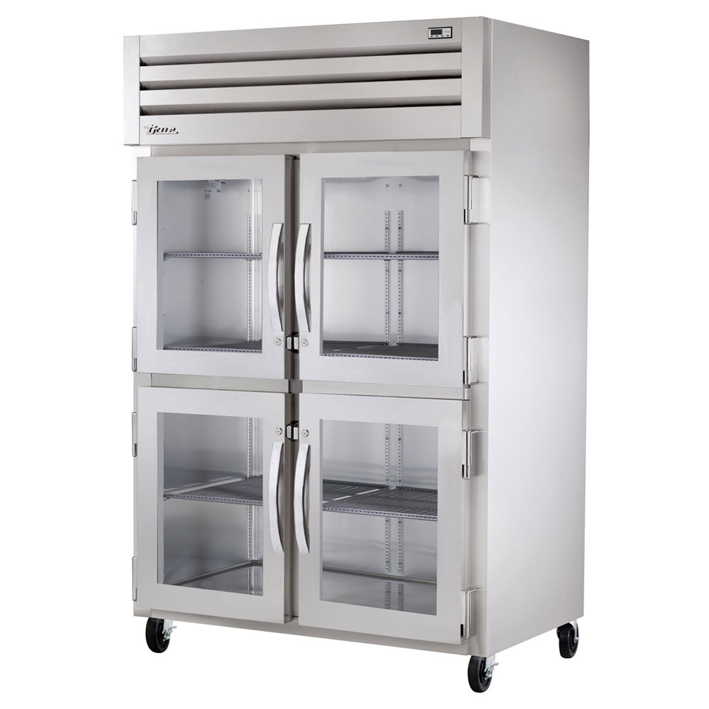 "True STR2R-4HG 52.63"" Two Section Reach-In Refrigerator, (4) Glass Door, 115v"