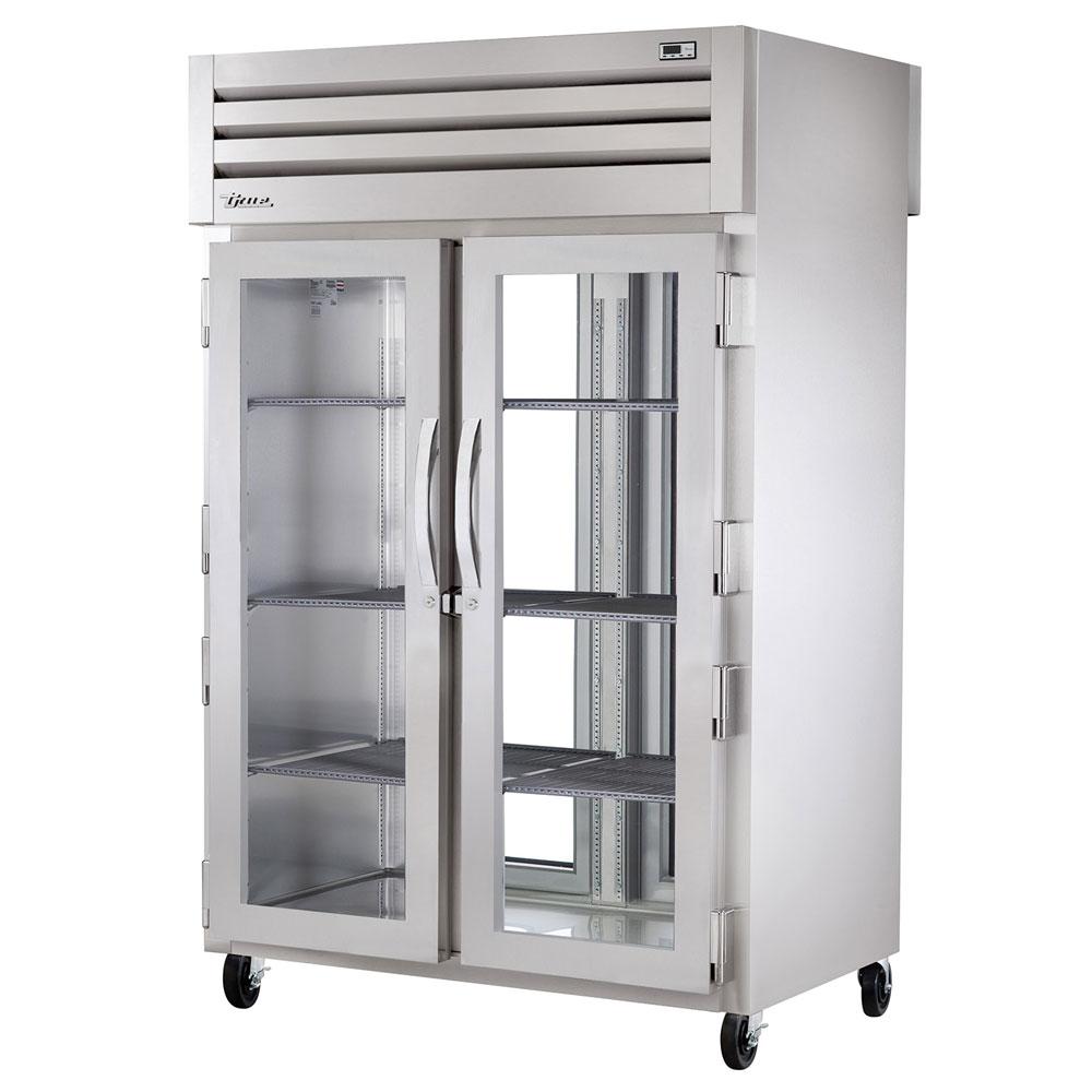 "True STR2RPT-2G-2G-HC 52.63"" Two Section Pass-Thru Refrigerator, (2) Glass Door, 115v"