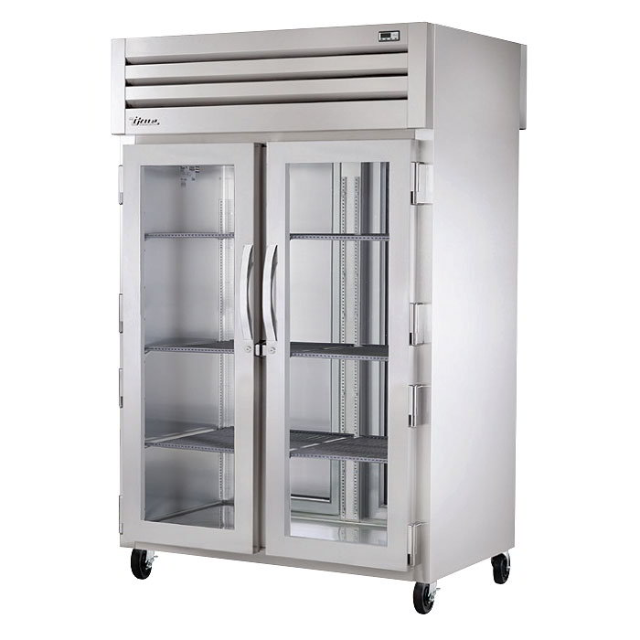 "True STR2RPT-2G-2S 53"" Two Section Pass-Through Refrigerator, (2) Glass Door, 115v"