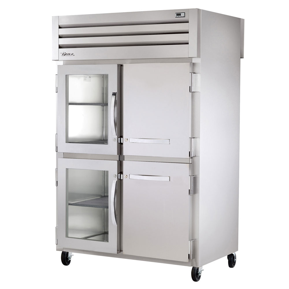 "True STR2RPT-2HG2HS2S 52.63"" Two Section Pass-Thru Refrigerator, (2) Solid Door & (2) Glass Door, 115v"