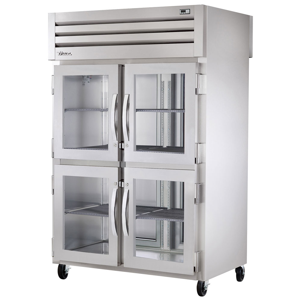 "True STR2RPT-4HG-2S-HC 52.63"" Two Section Pass-Thru Refrigerator, (4) Glass Door, 115v"