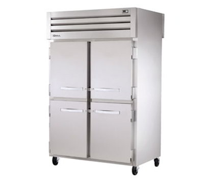 "True STR2RPT-4HS-4HS 52.63"" Two Section Pass-Thru Refrigerator, (4) Solid Door, 115v"