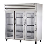 "True STR3R-3G 77.75"" Three Section Reach-In Refrigerator, (3) Glass Door, 115v"