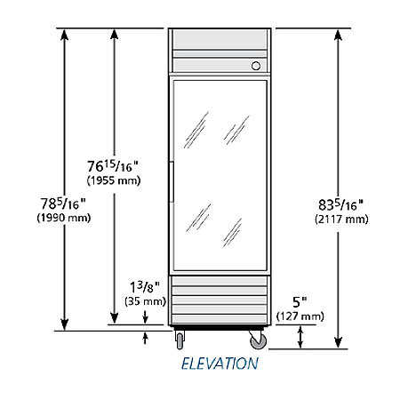 "True T-23FG-LD 27"" Single Section Reach-In Freezer, (1) Solid Door, 115v"