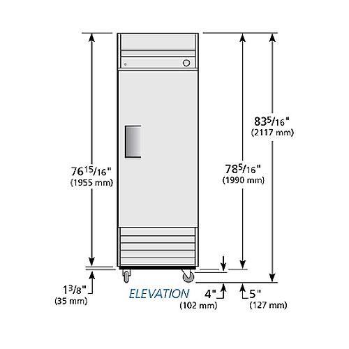 """True T-23F-HC LH 27"""" One-section Solid Door Freezer w/ Left-hinged Door, 115v"""