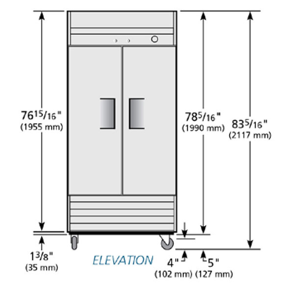"""True T-35F 39.5"""" Two Section Reach-In Freezer, (2) Solid Doors, 115v"""