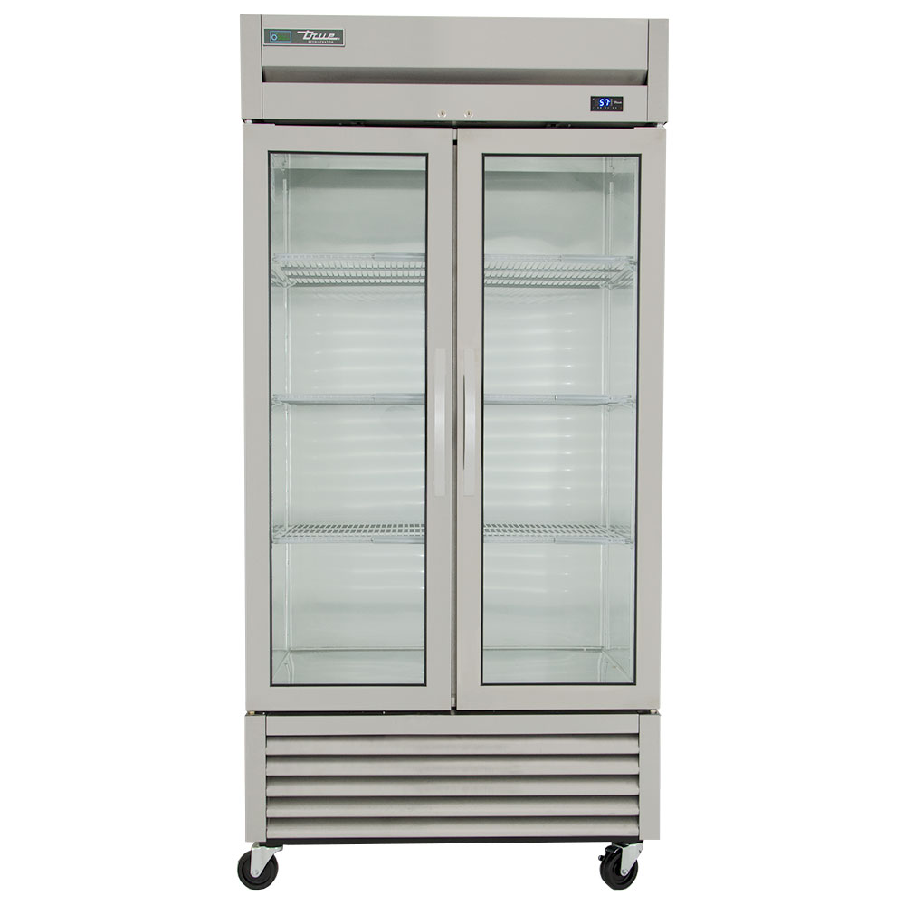 "True T-35G 39.5"" Two Section Reach-In Refrigerator, (2) Glass Door, 115v"