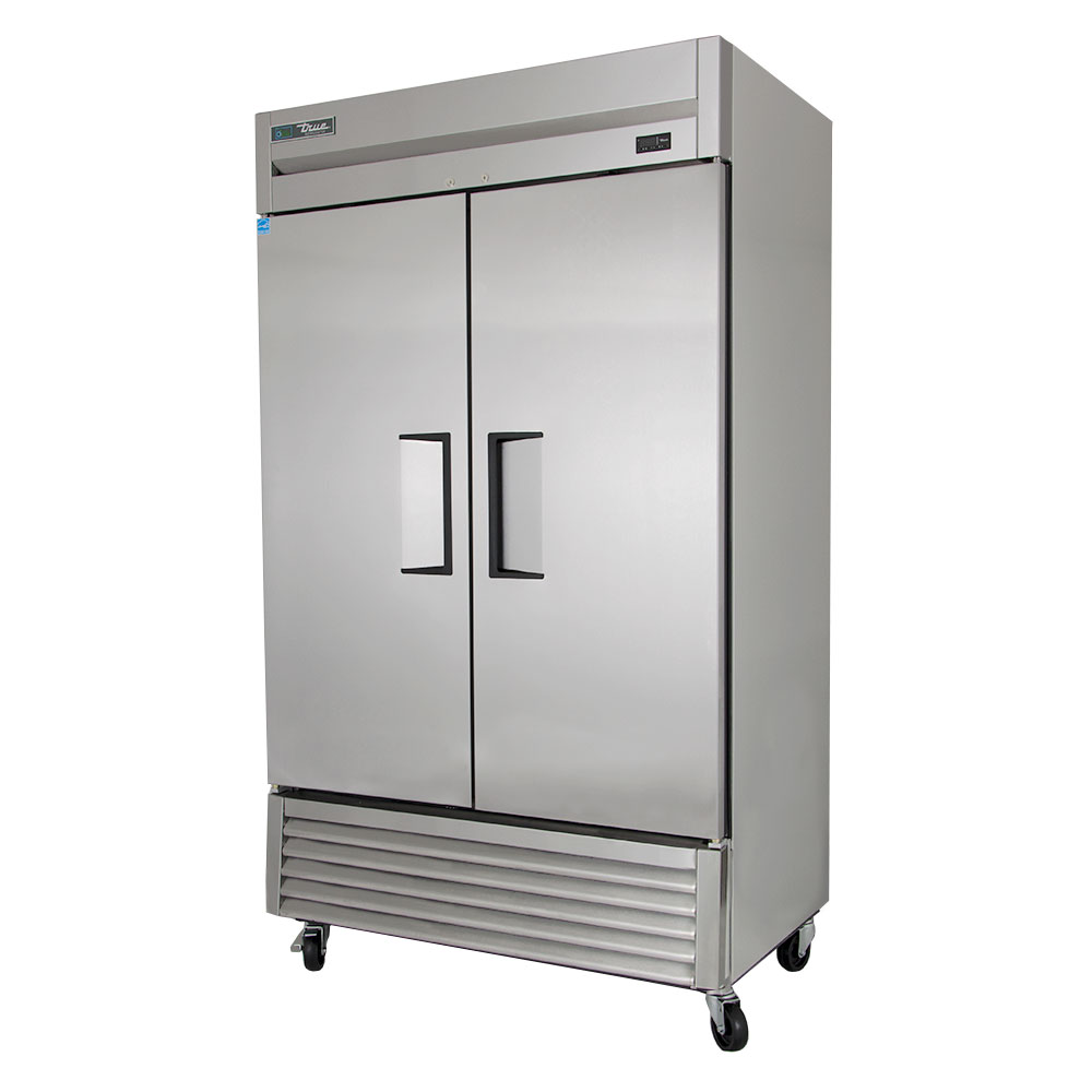 """True T-43 47"""" Two Section Reach-In Refrigerator, (2) Solid Door, 115v"""