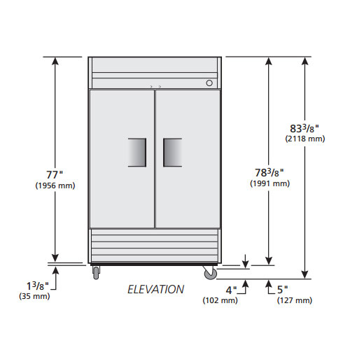 """True T-43F 47"""" Two Section Reach-In Freezer, (2) Solid Doors, 115v"""