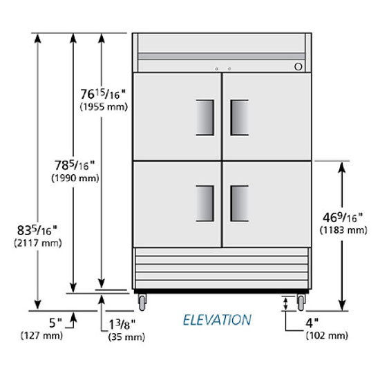 "True T-49-4-HC 54"" Two Section Reach-In Refrigerator, (4) Solid Door, 115v"