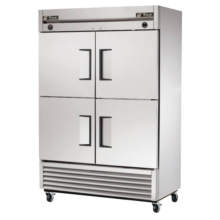 "True T-49DT-4 55"" Two Section Commercial Refrigerator Freezer - Solid Doors, Bottom Compressor, 115/208-230v"