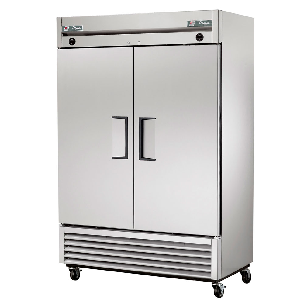 "True T-49DT 55"" Two Section Commercial Refrigerator Freezer - Solid Doors, Bottom Compressor, 115v"