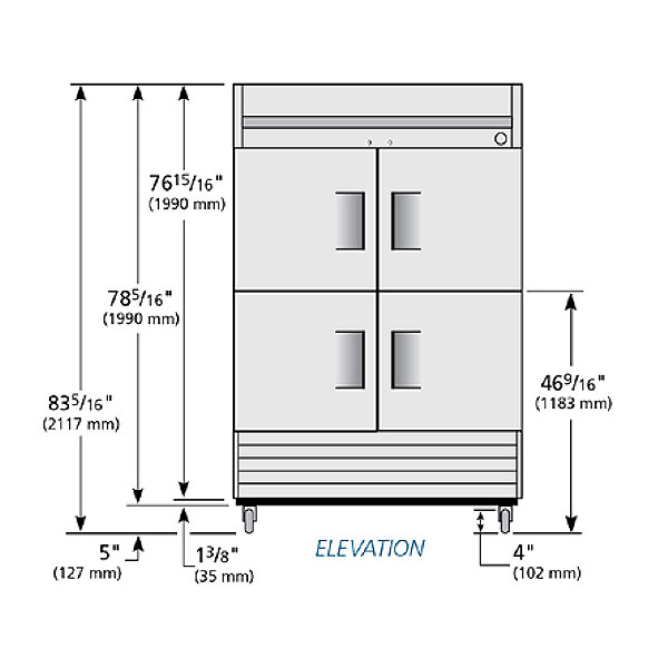 """True T-49F-4-HC 54"""" Two Section Reach-In Freezer, (4) Solid Door, 115v"""