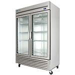 "True T-49G 54"" Two Section Reach-In Refrigerator, (2) Glass Door, 115v"