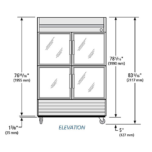 """True T-49G-4 54"""" Two Section Reach-In Refrigerator, (4) Glass Door, 115v"""