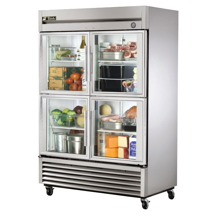 "True T-49G-4 54"" Two Section Reach-In Refrigerator, (4) Glass Door, 115v"