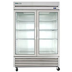 "True T-49G-LD 54"" Two Section Reach-In Refrigerator, (2) Glass Door, 115v"