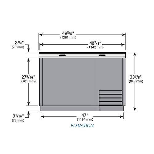 True T-50-GC 2-Section Glass Chiller w/ 250-Mug Capacity, Black, 115v