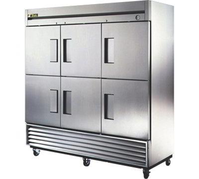 """True T-72-6 78.13"""" Three Section Reach-In Refrigerator, (6) Solid Door, 115v"""