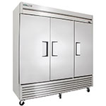"""True T-72F-HC 78.13"""" Three Section Reach-In Freezer, (3) Solid Doors, 115v"""