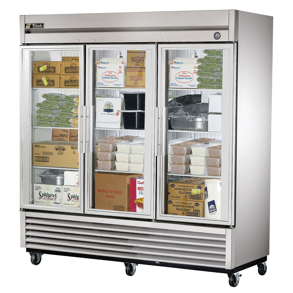 "True T-72FG-LD 78.13"" Three Section Reach-In Freezer, (3) Glass Door, 115v"