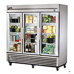 "True T-72G 78.13"" Three Section Reach-In Refrigerator, (3) Glass Door, 115v"