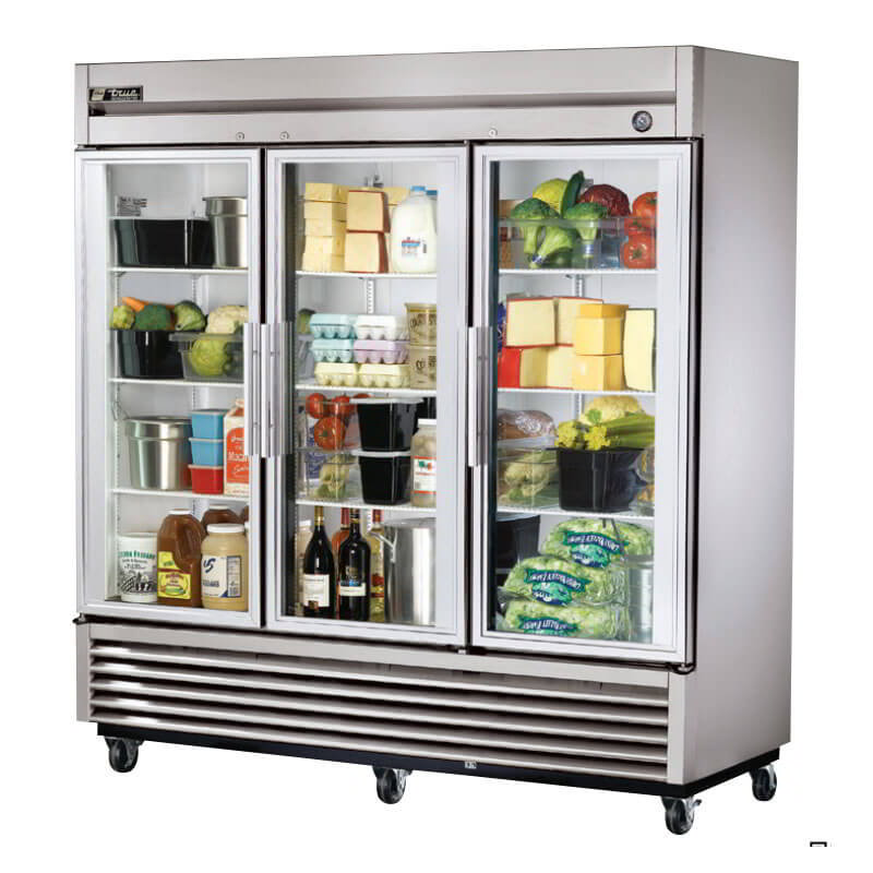 "True T-72G-LD 78.13"" Three Section Reach-In Refrigerator, (3) Glass Door, 115v"