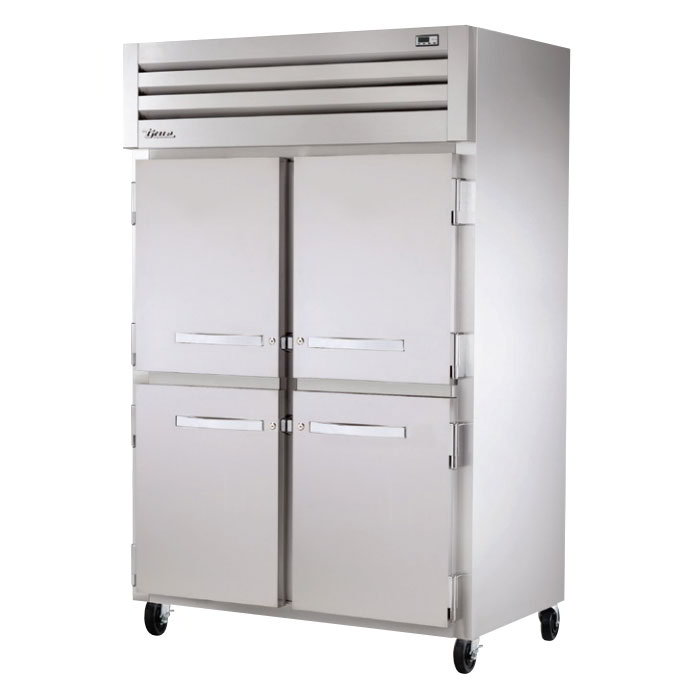 "True STA2H-4HS 53"" Reach-In Heated Cabinet - 2-Section, 4-Solid Half Doors 115/208-230v"
