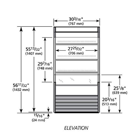 "True TAC-14GS-LD WHT 30"" Vertical Open Air Cooler w/ (4) Levels, White, 115v"