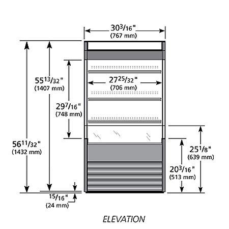 "True TAC-14GS-LD BK 30"" Vertical Open Air Cooler w/ (4) Levels, Black, 115v"
