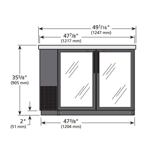 "True TBB-24-48G-LD 48"" (2) Section Bar Refrigerator - Swinging Glass Doors, 115v"