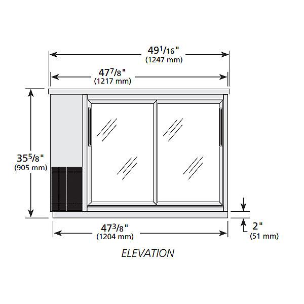 "True TBB-24-48G-SD-S-HC-LD 48"" (2) Section Bar Refrigerator - Sliding Glass Doors, 115v"