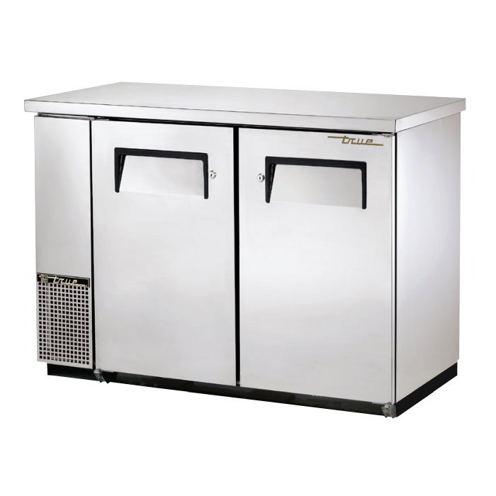 "True TBB-24-48-S 48"" (2) Section Bar Refrigerator - Swinging Solid Doors, 115v"