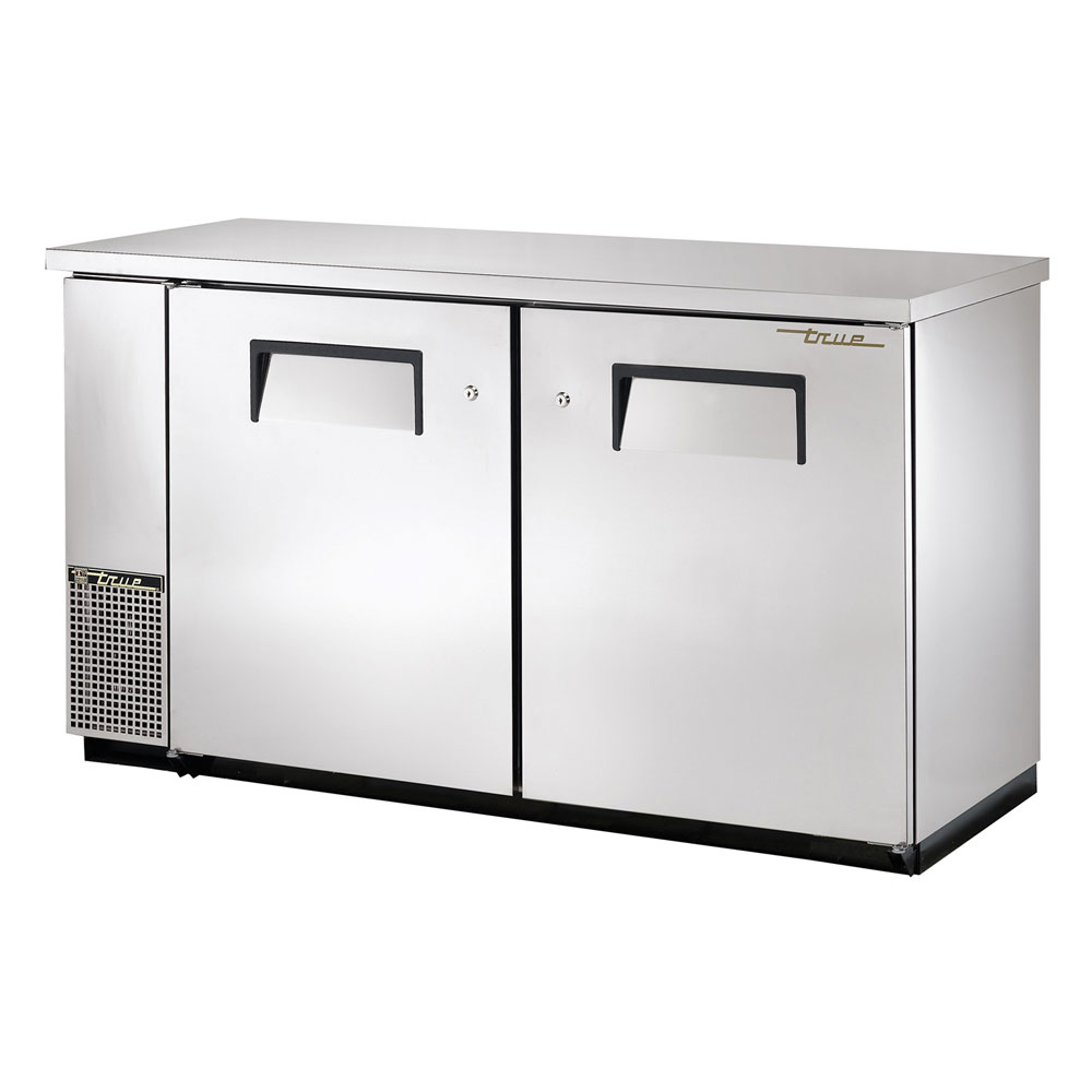 "True TBB-24-60FR-S 60"" (2) Section Bar Refrigerator - Swinging Solid Doors, 115v"