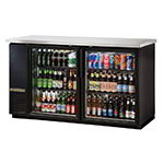 "True TBB-24-60G-LD 60"" (2) Section Bar Refrigerator - Swinging Glass Doors, 115v"