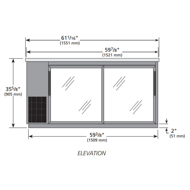 "True TBB-24-60G-SD-LD 61"" (2) Section Bar Refrigerator - Sliding Glass Doors, 115v"