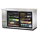 "True TBB-24-60G-SD-S-HC-LD 60"" (2) Section Bar Refrigerator - Sliding Glass Doors, 115v"
