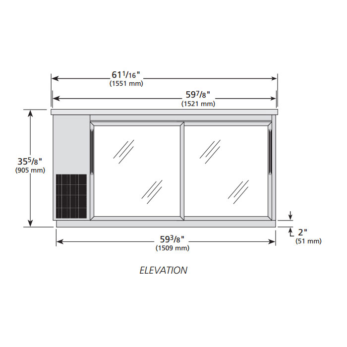 "True TBB-24-60G-SD-S-HC-LD 60"" (2) Section Bar Refrigerator - Sliding Glass Doors, 115v"
