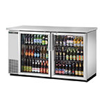 "True TBB-24-60G-S-LD 60"" (2) Section Bar Refrigerator - Swinging Glass Doors, 115v"
