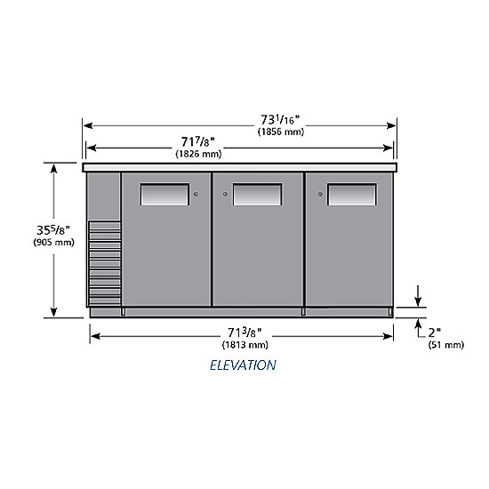 "True TBB-24-72 72"" (3) Section Bar Refrigerator - Swinging Solid Doors, 115v"