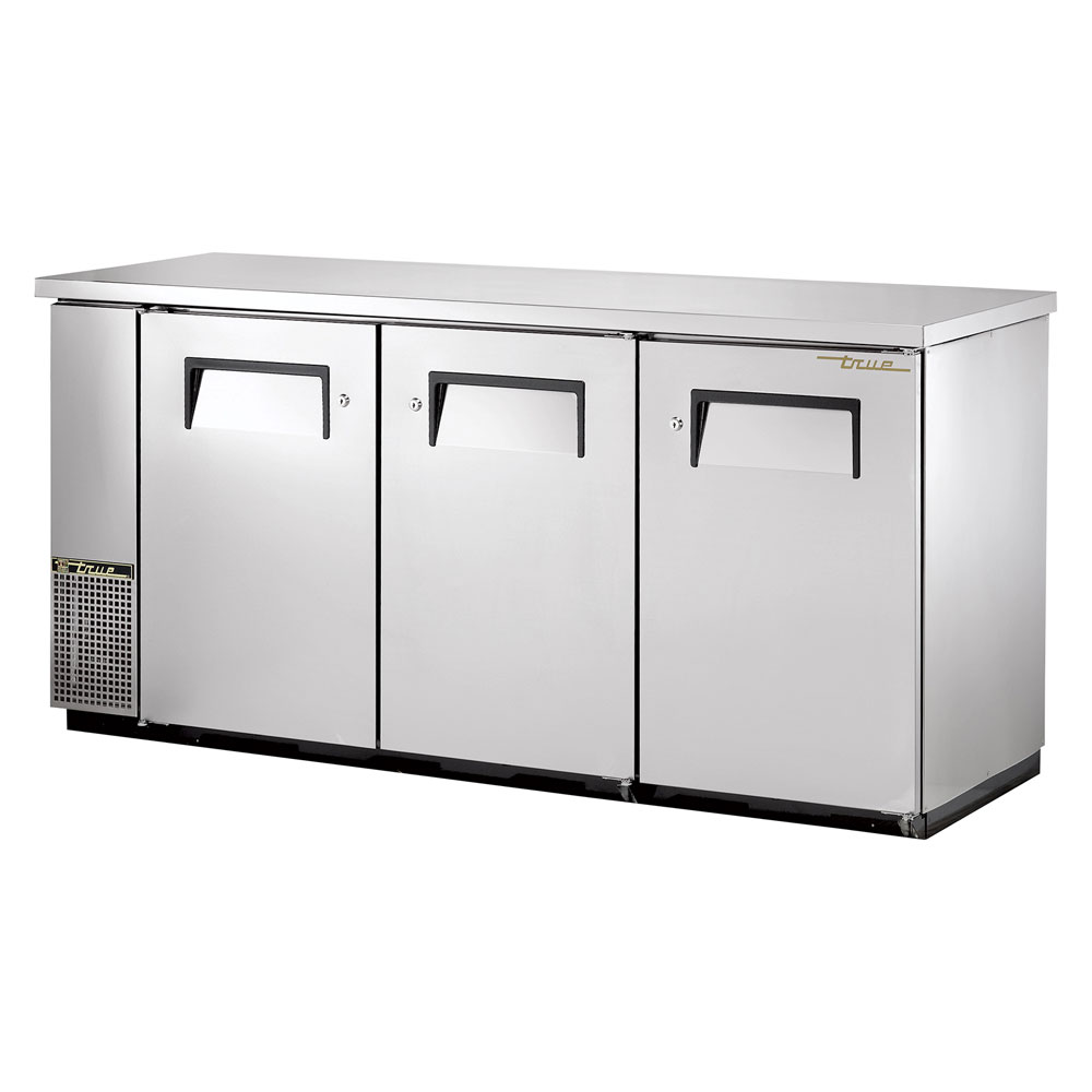 "True TBB-24-72FR-S 72"" (3) Section Bar Refrigerator - Swinging Solid Doors, 115v"