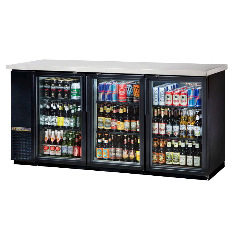 "True TBB-24-72G-LD 72"" (3) Section Bar Refrigerator - Swinging Glass Doors, 115v"