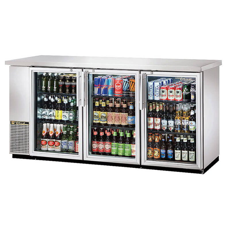 "True TBB-24-72G-S-LD 72"" (3) Section Bar Refrigerator - Swinging Glass Doors, 115v"