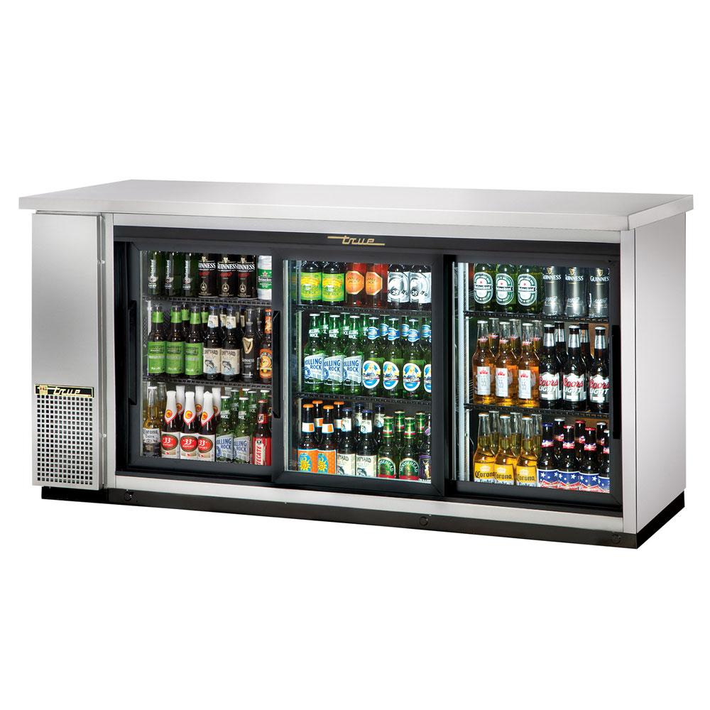 "True TBB-24-72G-SD-S-LD 72"" (3) Section Bar Refrigerator - Sliding Glass Doors, 115v"